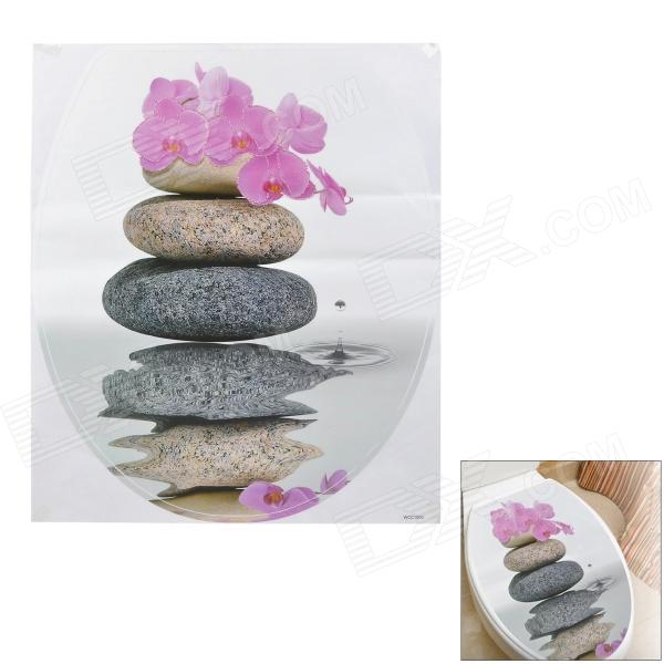 Flowers & Stones Pattern PVC Flush Toilet Cover Decorative Sticker (38.8 x 33.3cm)