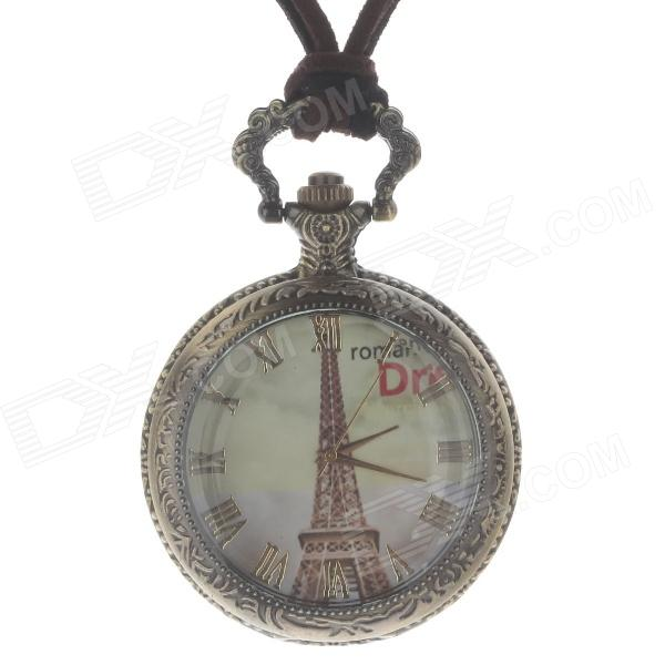 Retro Elegant Eiffel Tower Style Quartz Analog Women's Pocket Watch w/ Necklace Chain - Bronze vintage retro bronze pocket watch men women vogue analog quartz pendant watch chain necklace watches flower crown hour clock