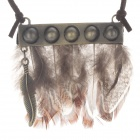 Retro Cool Feather Pendant Sweater Necklace - Bronze + Brown