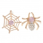 Elegant Spider + Web Shaped Zinc Alloy Earrings w/ Shiny Rhinestone Decorated - Golden (Pair)