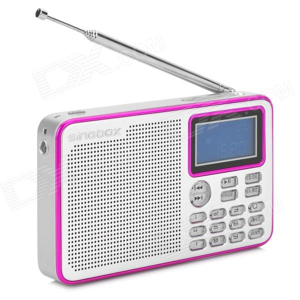Singbox V3 1.7 LCD Full-Band FM1 / FM2 / MW / SW / LW Radio Speaker w/ TF / USB - Silvery Grey - DXMedia Player Speakers <br>Brand Singbox Model V3 Type Portable Colors Silvery grey + fuchsia Quantity 1 Material ABS + aluminum Internal Memory N/A Memory Card Type TF Max Extended Capacity 32GB Media Format MP3 WMA WAV Total Power 3W Signal to Noise Ratio(SNR) 75dB Channels 2 Remote Type N/A Interface 3.5mm jack / 1 x Mini USB / 1 x TF card slot USB 2.0 3.5mm audio input port Radio FM1 FM2 MW SW LW FM Frequency 70~108MHz Power Supply Rechargeable battery Built-in Battery External: 1000mAh Other Features 1.7 LCD; DC 5V / 500mA; Sensitivity: FM1: 0dB FM2: -3dB MW: 74dB SW: 10dB LW: 95dB; Response: 140Hz~20KHz; Total THD: &gt;=0.1% (3.7V 1KHz 1W); S/N: &gt;=75dB; Output power: RMS 3W; Can be as emergency light; Supports time clock alarm sleeping off and temperature display; Supports song and FM memory; Supports choose song w/ number directly; Adopts SILICON LABS si4734 DSP chip Packing List 1 x MP3 player speaker 1 x USB charging cable (97cm) 1 x Battery 1 x Chinese user manual 1 x Strap (23cm) 1 x Audio cable (98cm)<br>