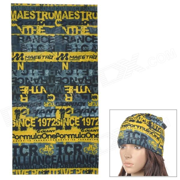Free Soldier 897487 Outdoor Sports Seamless Polyester Fiber Turban Head Scarf - Yellow + Gray