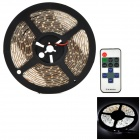 3528-w-RF DC 24W 1000lm 6500K 300-3528 SMD LED White Strip w/ Dimmer Remote Control - Black + White