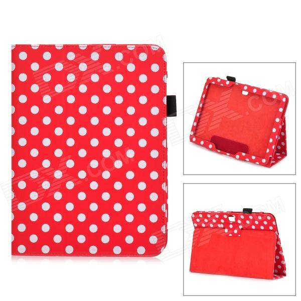 Dot Pattern Protective PU Leather Case Cover Stand for Samsung Galaxy Tab 3 10.1 P5200 - Red + White floveme luxury flip stand case for samsung galaxy tab3 10 1 p5200 tab3 pu leather protective cover pouch bag black for tab 3
