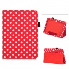 Dot Pattern Protective PU Leather Case Cover Stand for Samsung Galaxy Tab 3 10.1 P5200 - Red + White