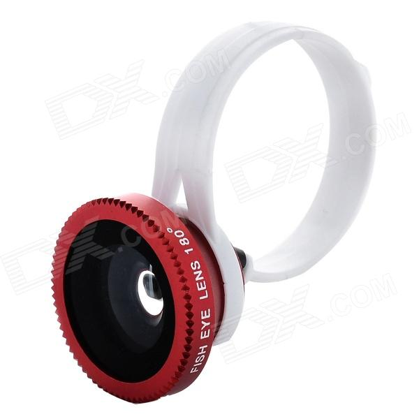 Universal Clip-on 180 Degree Fisheye Lens for Iphone / Cellphone / Digital Camera - Red clip on 8x zoom optical telescope camera lens universal for smartphone