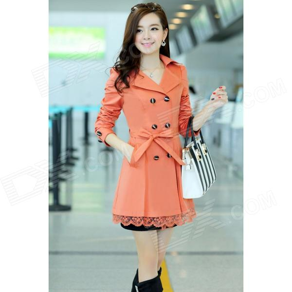 Woman's Fashionable Double-breasted Lace Hem Cotton Blending Wind Coat - Orange (XL)