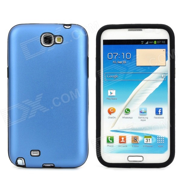 Protective Aluminum + Silicone Case  for Samsung Galaxy  Note II N7100 - Deep Blue + Black
