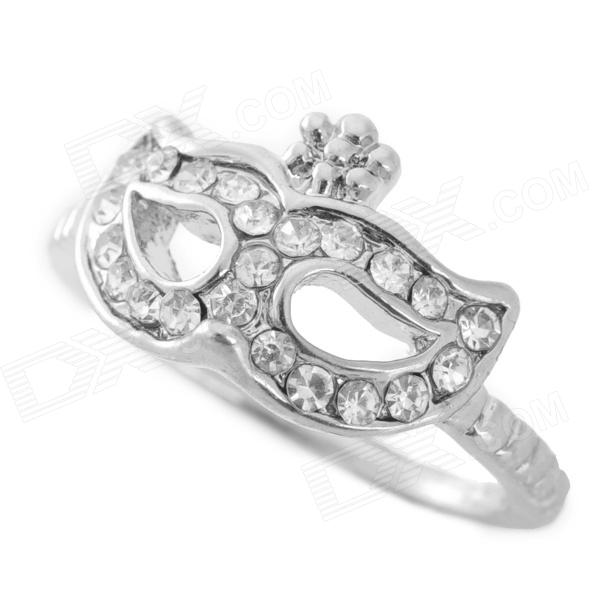 SHIYING Bohemian Mask Style Rhinestone + Zinc Alloy Decoration Ring - Silver