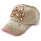 Woman's Fashionable Shiny Crystal Skull Pattern Denim Baseball Hap Cap - Khaki