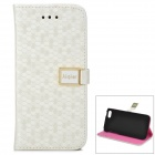 Diamond Pattern Protective PU Leather Case Cover Stand w/ Card Slots for iPhone 5c - White