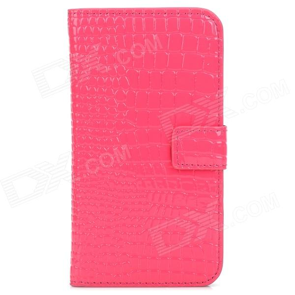 Alligator Pattern Protective  PU + Plastic Case w/ Card Slots for Samsung i9500 - Deep Pink + Black leopard print pattern protective plastic case w tail for samsung galaxy s4 i9500 black yellow