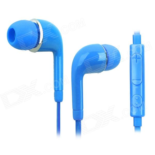 Stylish In-ear Earphone w/ Microphone / Controller for Samsung i9500 / S4 / S3 - Blue fshang q8 in ear 3 5mm earphone with microphone for iphone samsung white