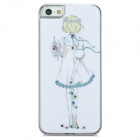 Girl Holding Flowers Pattern Protective Plastic Back Case for Iphone 5 - White + Yellow