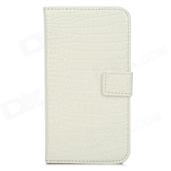 Alligator Pattern Protective PU + Plastic Case w/ Card Slots for Samsung i9500 - White + Black гарнитура plantronics backbeat go 2 with charging case black 200203 05