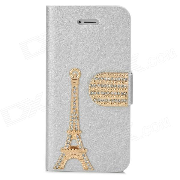 PUDINI WB-IP5G 3D Tower Pattern Protective PU Leather Case Cover Stand for Iphone 5 - Silver pudini wb ip5g rhinestone eiffel tower style pu leather case for iphone 5 brown golden