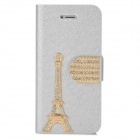 PUDINI WB-IP5G 3D Tower Pattern Protective PU Leather Case Cover Stand for Iphone 5 - Silver