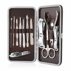 JDM CH-D2 10-in-1 High Grade Stainless Steel Nail Care Manicure Set - Silver