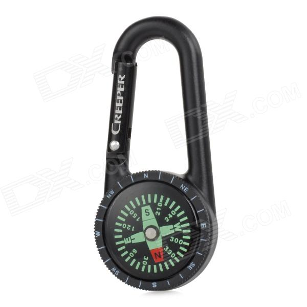 Creeper Handy Outdoor Carabiner Type Compass for Hiking / Trekking - Black