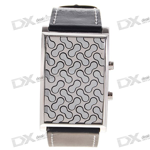 28-LED 3-Color-Light Leather Band Mens Fashion Wrist Watch