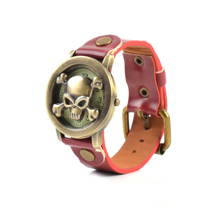 Fashionable Skull Style Women's Quartz Analog Wrist Watch w/ Cover - Red + Bronze (1 x SR626)