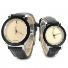 Stylish Couple's Analog Quartz Wrist Watches - Black (1 x 377)