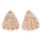 Elegant Shell-Shaped Zinc Alloy Earrings w/ Shiny Rhinestone Decorated - Golden (Pair)