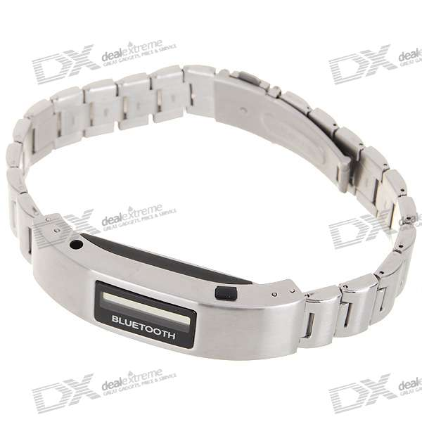 "0.8"" OLED Bluetooth Incoming Call Vibrate Alert Bracelet with Caller ID Display (Silver)"