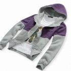 Men's Casual Hooded Cardigan Sweater Collision Color - Gray + Purple (XL)