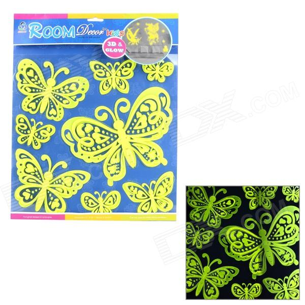 01 3D Butterfly Style Glow-in-the-Dark Sticker for Room Decoration - Fluorescent Yellow 2016 new style mini mp3 player sport hifi lossless music player 16gb hot sales for mobile phone pc tablet