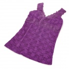 Sexy Double Layer Lace Detalhe Skinny camisola Spandex - roxo (L)