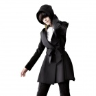 Autumn Winter Long Hooded Wind Coat for Women - Black (Size-M)