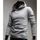 Men's Clothing Sets Rabbit Fur Hooded Fleece Jacket - Grey (Size-L)