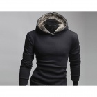 Men's Clothing Sets Rabbit Fur Hooded Fleece Jacket - Black (Size-L)