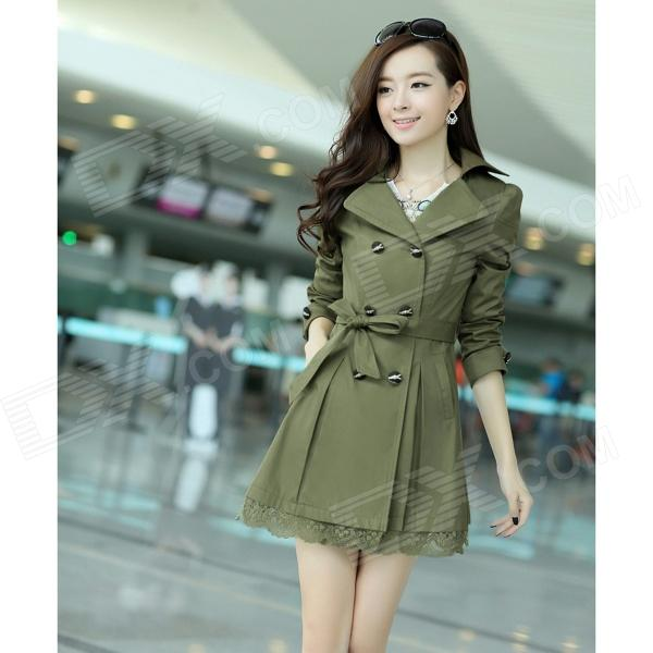 Woman's Fashionable Double-breasted Lace Hem Cotton Blending Wind Coat - Army Green (XL)