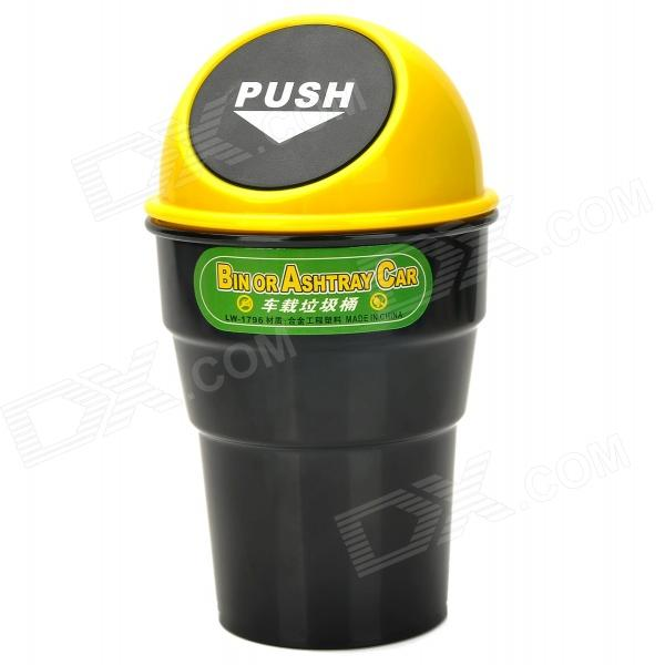 все цены на LW-1796 Car ABS Trash Can /  Bin Holder w/ Push Cover - Black + Yellow онлайн