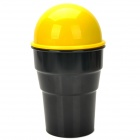 LW-1796 Car ABS Trash Can /  Bin Holder w/ Push Cover - Black + Yellow