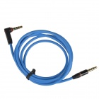 3.5mm TRRS Straight Male to Right Angle Male Audio Connection Cable - Blue (105cm)
