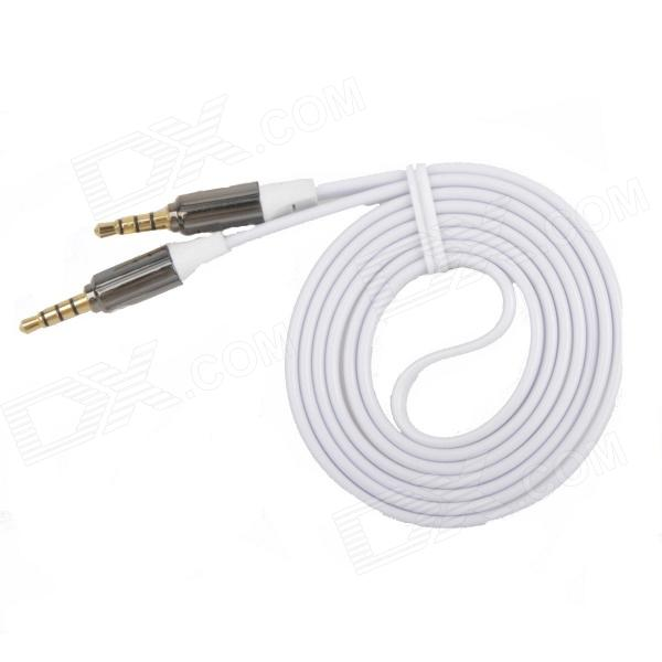 AYA-043 3.5mm TRRS Jack Male to Male Shielded Flat Audio Cable - White (113cm)  skw audio cable speaker wire male to male hi end gold plated jack nylon cable lock adapter connector for hifi amplifier 5 16ft
