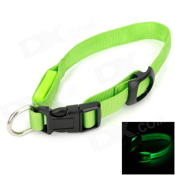 Doglemi DM40024-M LED Nylon Collar for Pet Dog - Green (Size M) doglemi dm40024 m led nylon collar for pet dog green size m