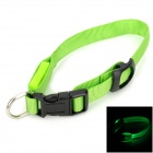 Doglemi DM40024-M LED Nylon Collar for Pet Dog - Green (Size M)
