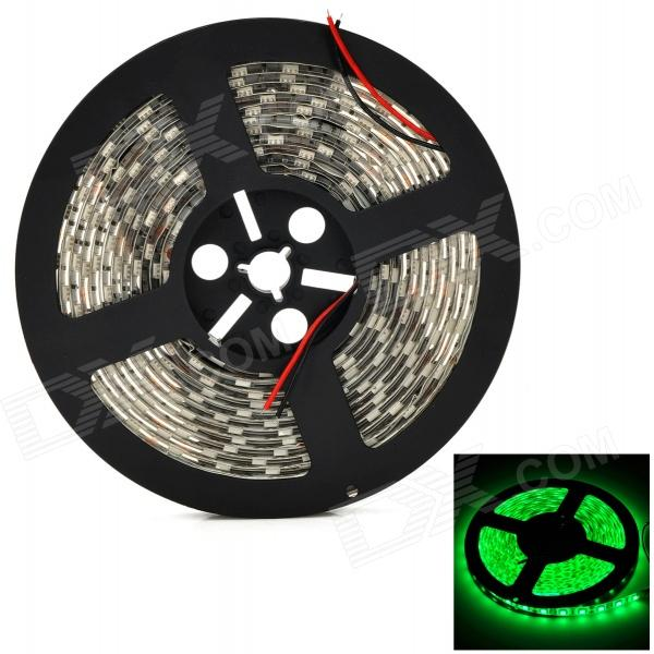 Waterproof 60W 3600lm 535nm 300-5050 SMD LED Green Light Decorative Strip - White + Black (5m)
