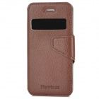 NEWTONS Protective PU Leather Flip-open Case w/ Display Window / Stand for Iphone 5 - Brown