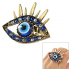 Fashionable Eye Style Zinc Alloy + Rhinestone Ring - Blue + Bronze
