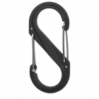Multifunctional Outdoor Plastic + Stainless Steel S Type Carabiner for Hiking - Black