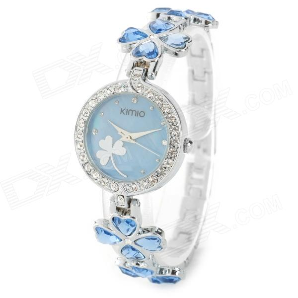 KIMIO Clovers Style Band Women's Quartz Analog Wrist Watch - Blue + Silver (1 x AG4) split leather band analog quartz watch handwork retro style bracelet for women 1 x ag4