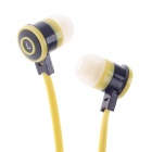 Stylish In-Ear Earphones w/ Microphone for Iphone / Samsung - Yellow (3.5mm Plug / 112cm-Cable)