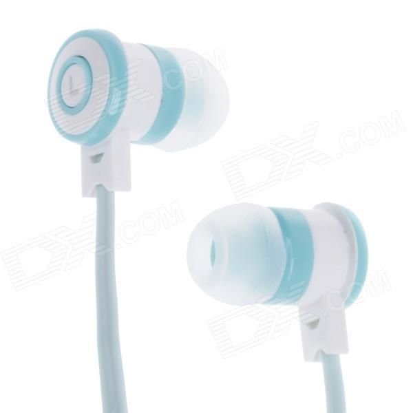 Stylish In-Ear Earphones w/ Microphone for Iphone / Samsung - Light Blue (3.5mm Plug / 112cm-Cable) ovleng ip680 stylish in ear earphones w microphone for samsung iphone htc black silver