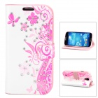 Butterfly & Flower Style Protective Rhinestone + PU Leather Case for Samsung Galaxy S4 i9500 - Pink