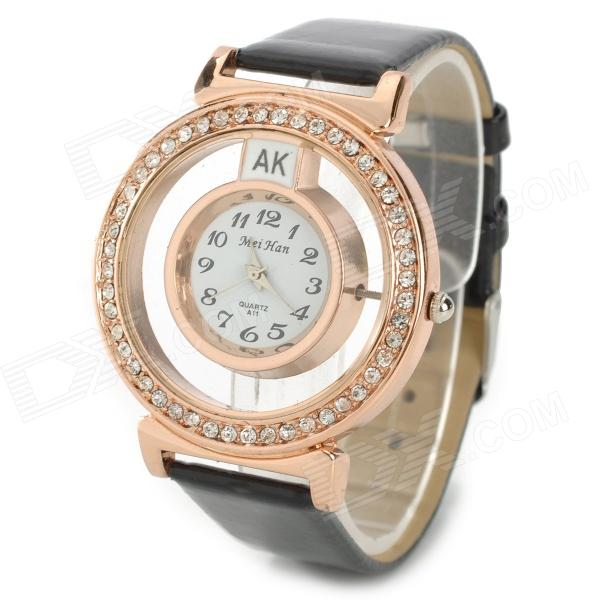 A11 Elegant Women's Quartz Analog Wrist Watch - Golden + Black (1 x 337)